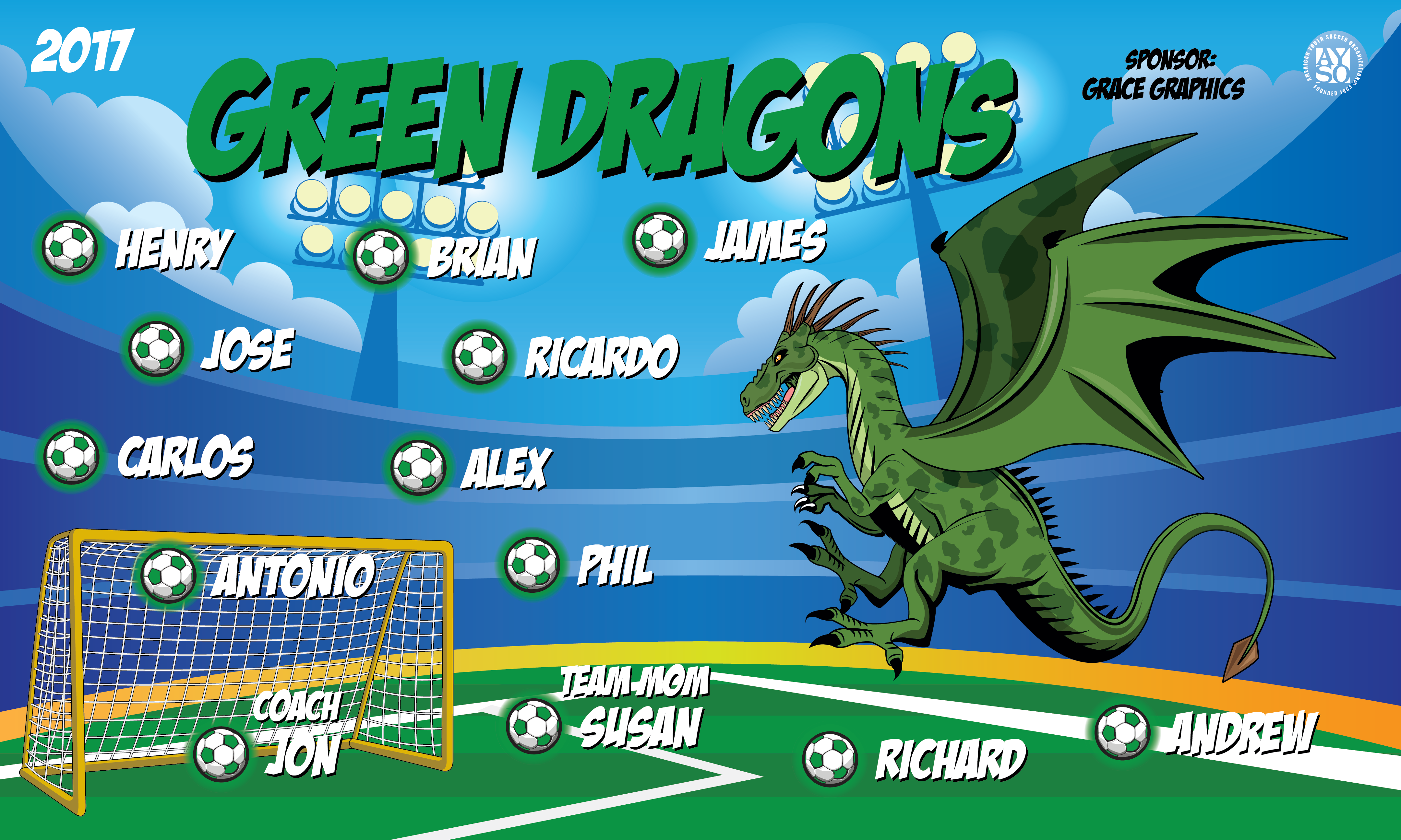 Green Dragons Banners Cute Graduation Banners