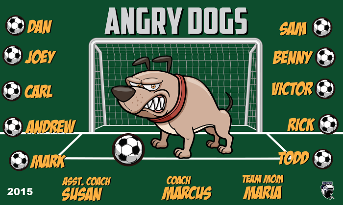 B1510 Angry Dogs 3x5 Banner