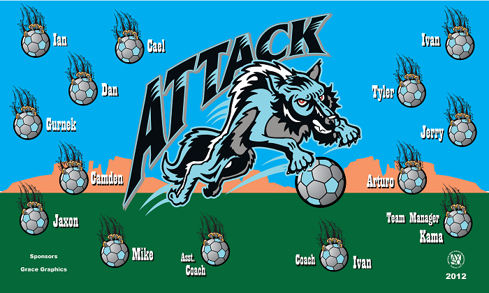 B1007 Attack Wolves 3x5 Banner