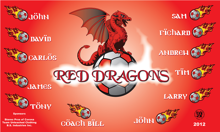 B1048 Red Dragons 3x5 Banner