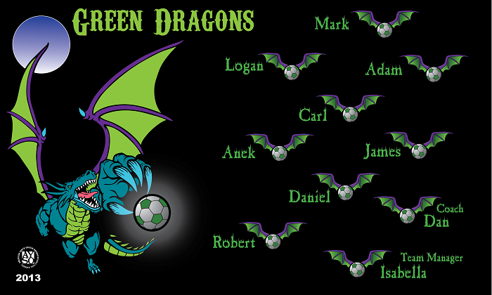 B1050 Green Dragons 3x5 Banner
