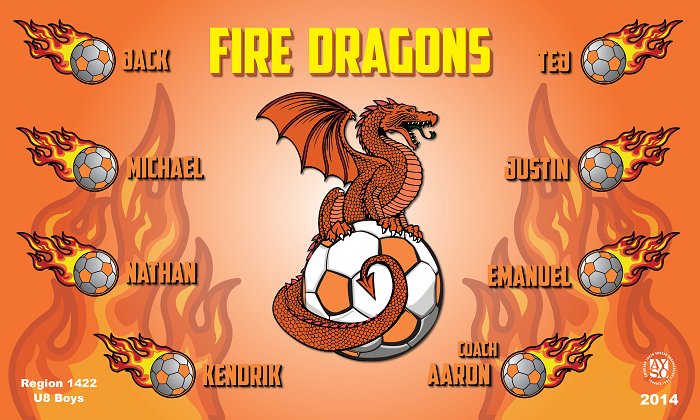 B1059 Fire Orange Dragons 3x5 Banner