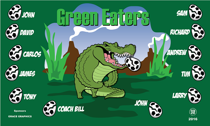 B1444 Green Eaters 3x5 Banner