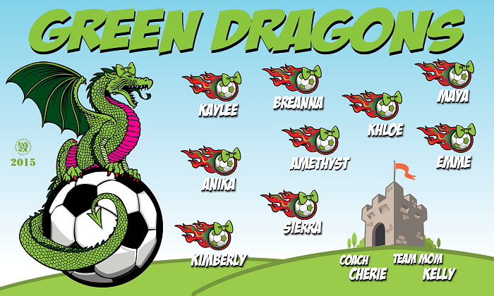 B1290 Green Dragons 3x5 Banner