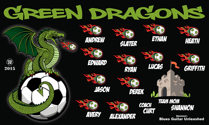 B1291 Green Dragons 3x5 Banner