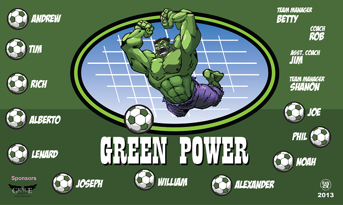 B1097 Green Power 3x5 Banner