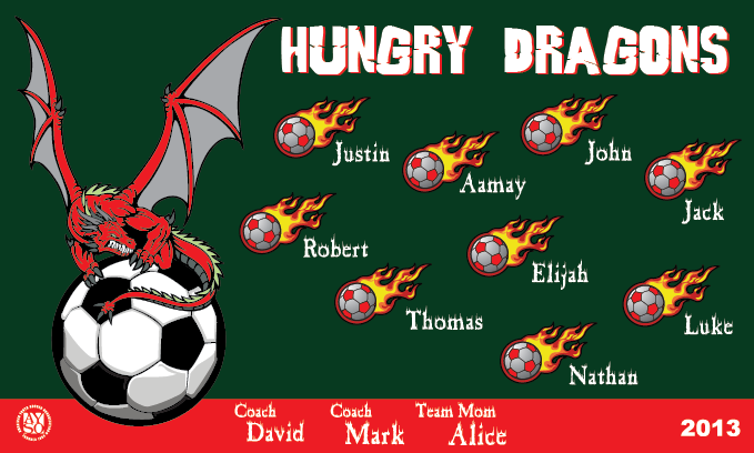 B1451 Hungry Dragons 3x5 Banner