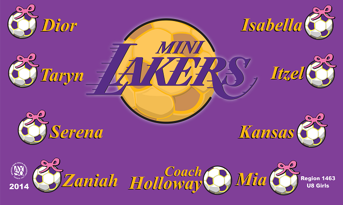 B1104 Mini Lakers 3x5 Banner