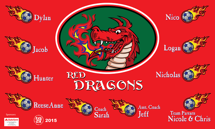 B1316 Red Dragons 3x5 Banner