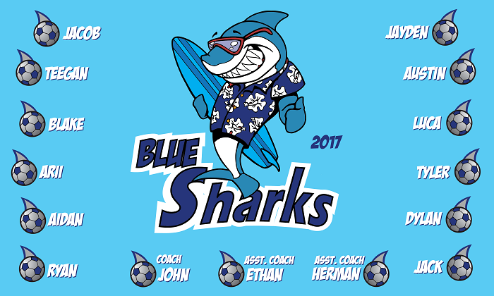 B1169 Surfing Sharks 3x5 Banner