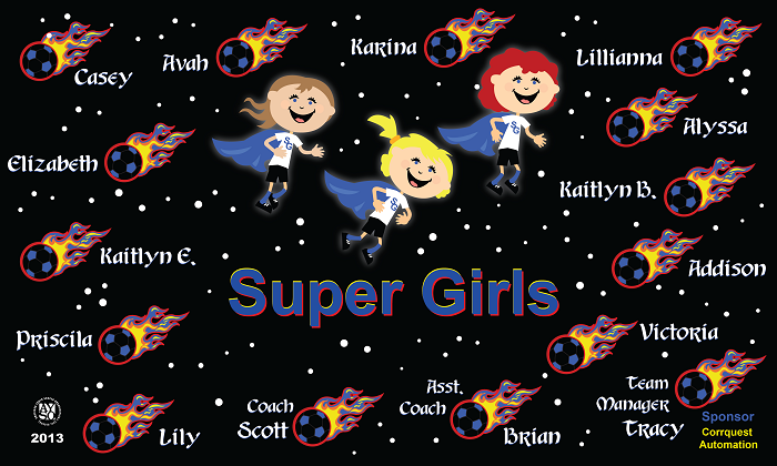 B1184 Super Girls 3x5 Banner