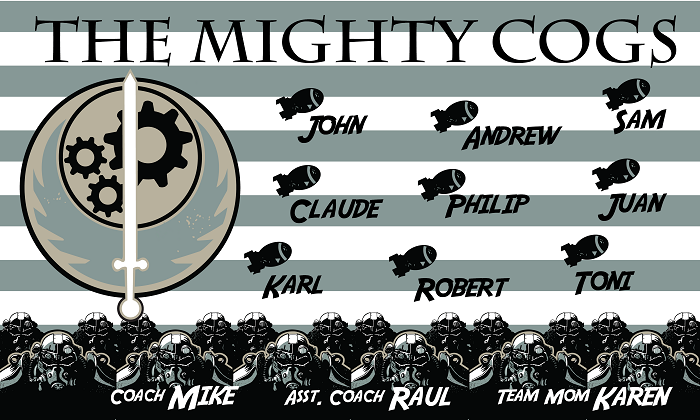 B1534 The Mighty Cogs 3x5 Banner