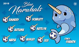 B2363 Blue Narwhals 3x5 Banner