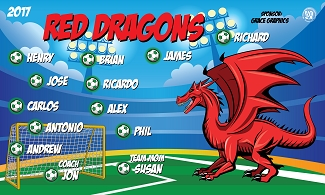 B2148 Red Dragons 3x5 Banner