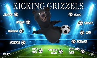 B2217 Kicking Grizzles 3x5 Banner