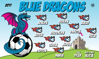 B2121 Blue Dragons 3x5 Banner
