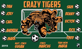 B1584 Crazy Tigers 3x5 Banner