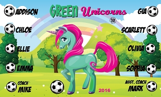 B1796 Green Unicorns 3x5 Banner