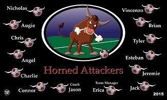 B1672 Horned Attackers 3x5 Banner