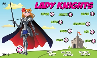 B1560 Lady Knights Sword 3x5 Banner