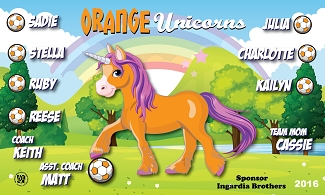 B1797 Orange Unicorns 3x5 Banner