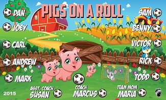 B1662 Pigs on a Roll 3x5 Banner