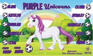 B1716 Purple Unicorns 3x5 Banner