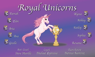B2116 Royal Unicorns 3x5 Banner