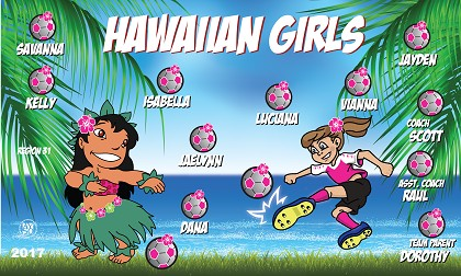 B1931 Hawaiian Girls 3x5 Banner