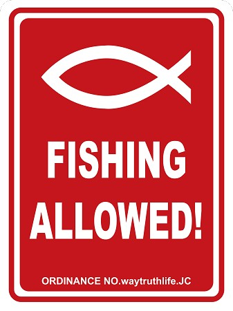 "Fishing Allowed 18""x24"" Metal Sign"