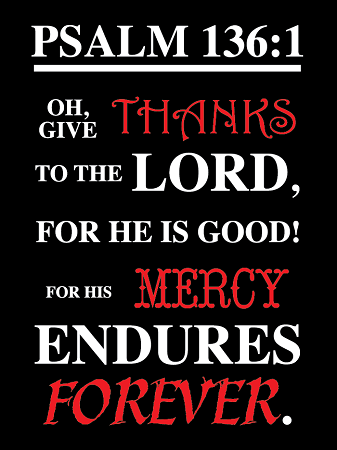 "Psalm 136-1 18""x24"" Metal Sign"